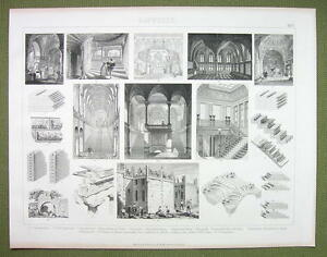 ARCHITECTURE-Masonry-Walls-Vaulting-Domes-Arches-1870s-Engraving-Print