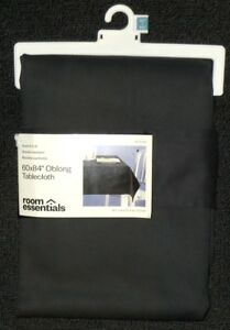 NEW-ROOM-ESSENTIALS-WRINKLE-RESISTANT-SOLID-BLACK-POLY-COTTON-TABLECLOTH-60x84