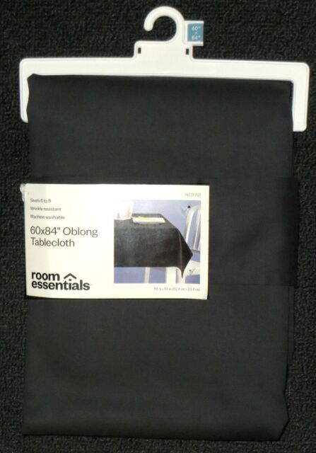 NEW ROOM ESSENTIALS WRINKLE RESISTANT SOLID BLACK POLY COTTON TABLECLOTH 60x84