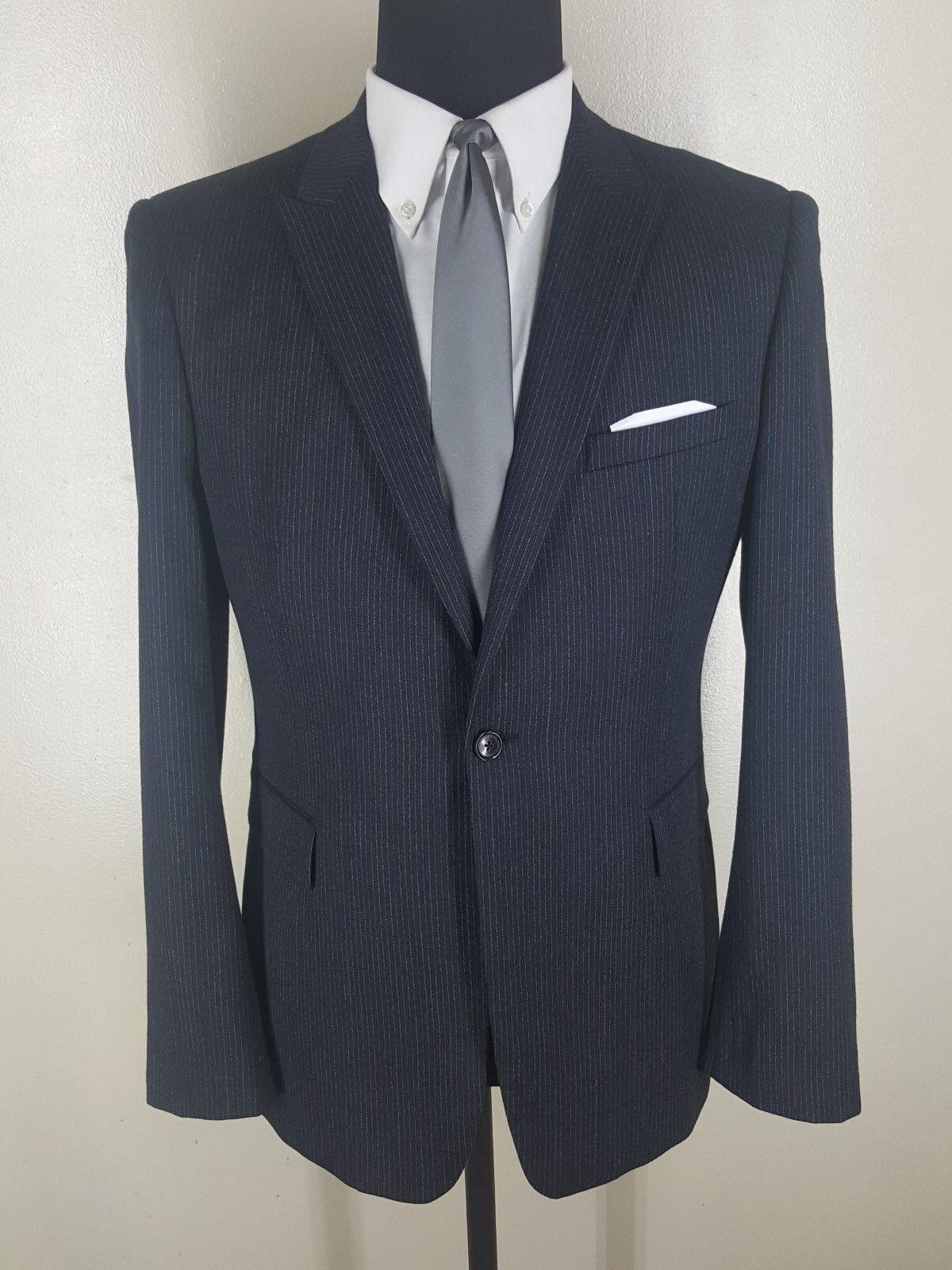 REISS Recent One Btn Peaked Lapel  Center Vent Striped Wool Sport Coat 42 Reg