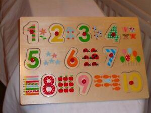 Play & Grow En Bois Puzzle O Jusqu ' à 10 Plus Compter Coloré Pas Utilisé.-afficher Le Titre D'origine