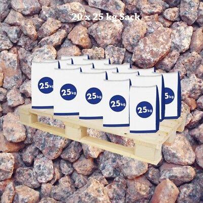 0,44€//1kg 20x25 kg Sack Granitsplitt Baltic Rot 16-–32mm halbe Palette Boden G