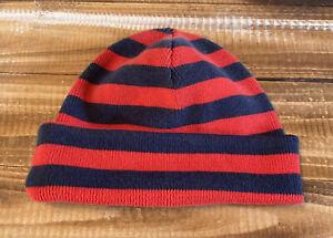 Vintage Hanna Kids Winter Beenie Hat Red with Blue Stripes