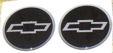 """NEW STYLE CHEVY DOMED 4 SILVER&BLACK&SILVER 2.56"""" CENTER CAP STICKER DECALS"""