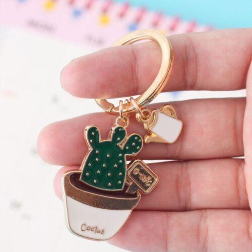 Succulent Plant Cactus Cute Key Chain Handbag Pendant Key Holder Key Ring