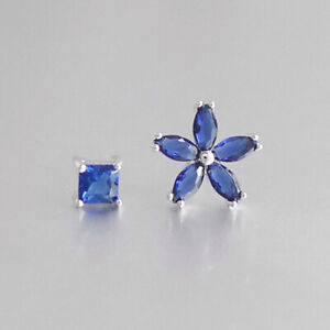 Solid-925-Sterling-Silver-Dark-Blue-Sapphire-CZ-Flower-Square-Stud-Earrings
