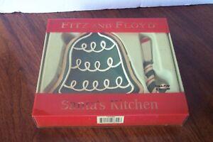 Fitz-amp-Floyd-Navidad-Santa-039-s-Cocina-Campana-Snack-Juego-con-Separador-Punta