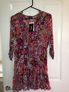 Sara-floral-Tunic-Size-1X-Plus-Size-with-3-4-Sleeves-BNWT-Crimson-Multi