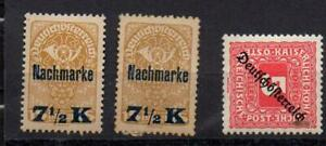 3-Timbres-Autriche-surcharges-dont-2-Nachmarke-neufs