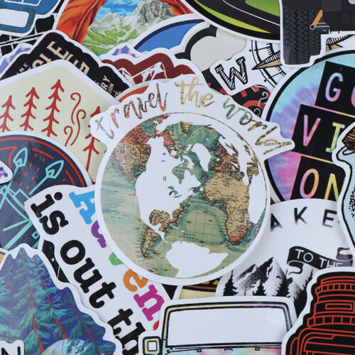 65Pcs Hiking Travel Stickers Adventure Outdoor Landscape Waterproof PVC DecalsZB