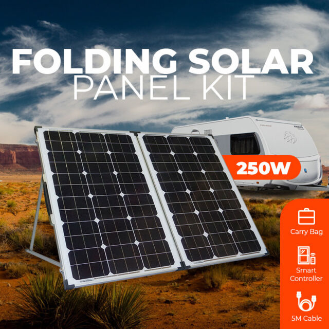12V 250W Folding Solar Panel Kit Caravan Boat Camping Power Mono Charge portable
