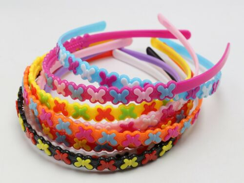 5 Mixed Color Plastic Slim Butterfly Heart Headband Aliceband Hair band for Girl