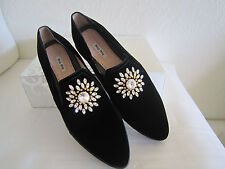 Miu Miu   Avondale Black Velvet Crystal Embellished  Flats IT40 -41