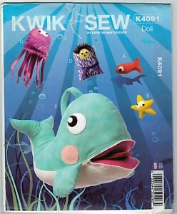 NEW-Kwik-Sew-Pattern-K4091-Jonah-Whale-Fish-Toy-Starfish-Play-Kerstin-Martensson
