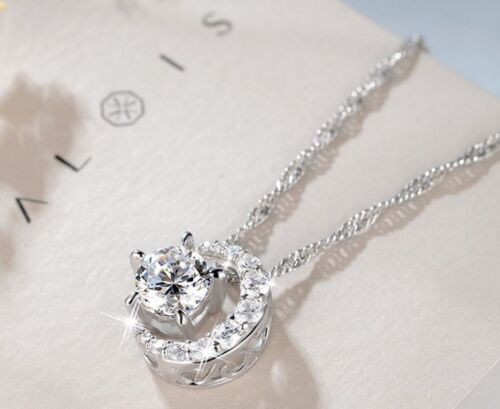 Sterling Silver Crescent Moon Star Cubic Zirconia Pendant Necklace Gift Box E11