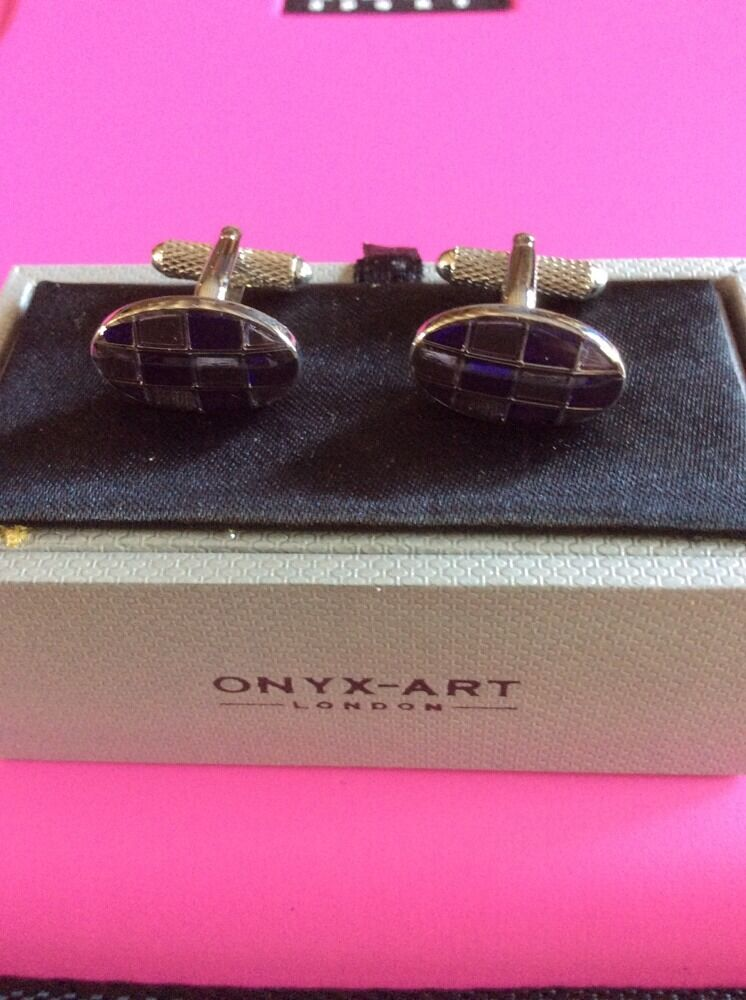 **REDUCED** Cufflinks by Onyx Art Oval Purple/Clear Squares CK08A