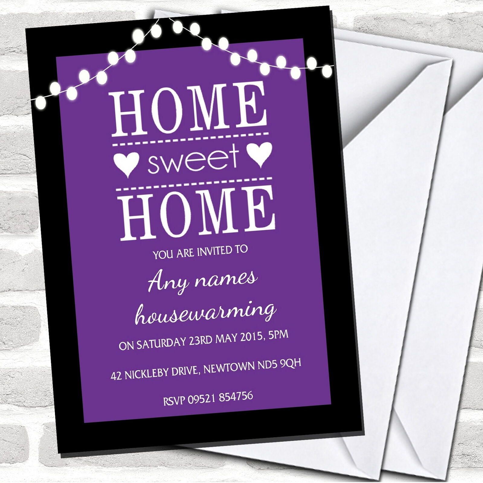 lila String Lights Housewarming Party Invitations