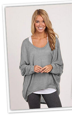 Ladies Long Sleeve Chunky Knitted OverSized Baggy Womens Plain Jumper Top 8-12
