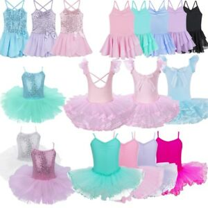 Girls-Kids-Ballet-Leotard-Dance-Dress-Ballerina-Mesh-Tutu-Skirt-Dancing-Costume