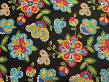 Navajo Native American Beaded Like Floral Colors Black Print Cotton Fabric BTHY