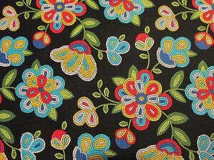 Navajo-Native-American-Beaded-Like-Floral-Colors-Black-Print-Cotton-Fabric-BTHY
