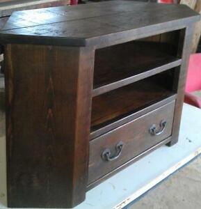 Any Size Made Solid Wood Corner Tv Stand Entertainment Unit Rustic
