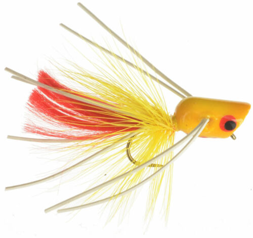 Fly Fishing Flies Micro Popper Yellow and Red x6 Bass, Bream, Crappie, Trout