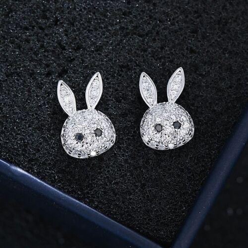 Plata esterlina 925 conejito conejo bonito pavimentada CZ Niñas Aretes Joyas