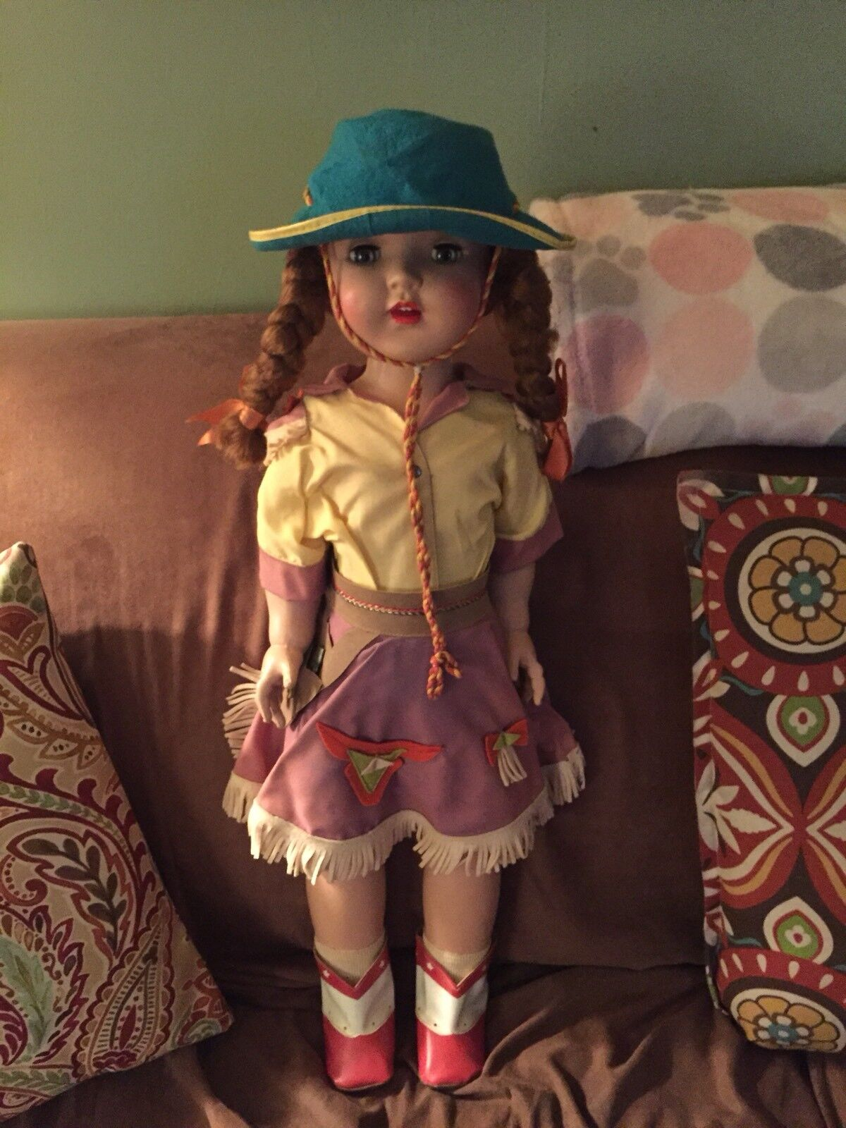 VINTAGE PARIS RITA DOLL COWGIRL WITH ORIGINAL HAT EXTREMELY RARE
