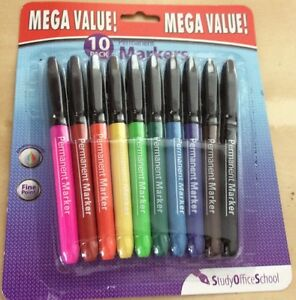 10 x Permanent Markers Assorted Colours NEW Fine Point - St Ives, Dorset, United Kingdom - 10 x Permanent Markers Assorted Colours NEW Fine Point - St Ives, Dorset, United Kingdom