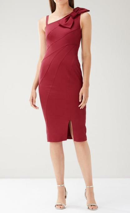 Coast - pink Bow Shift Dress - (Merlot) - Size 14 - (Brand New With Tag)