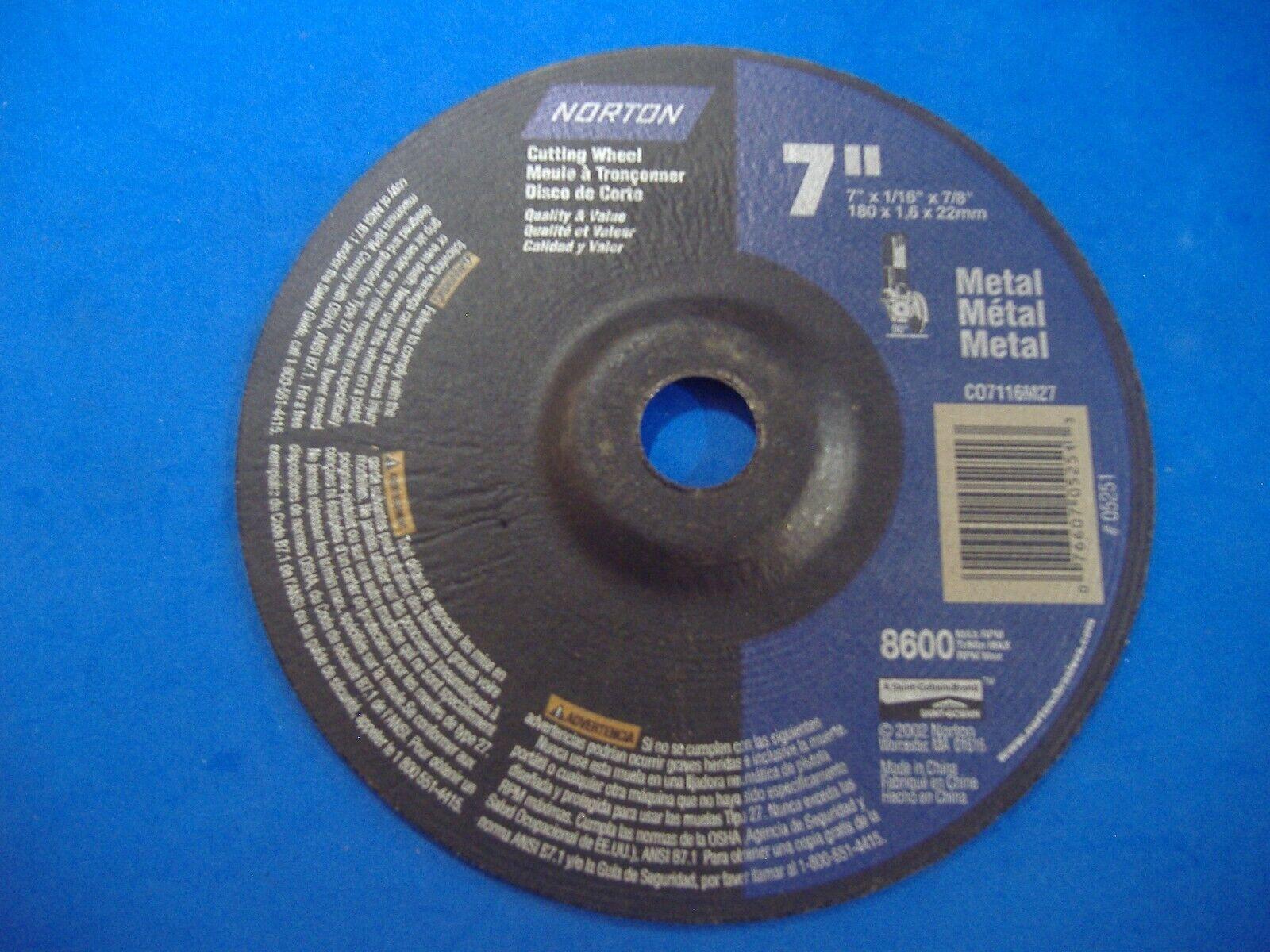 Norton 7660705251 7 x .060 x 7//8-Inch Metal Aluminum Oxide Right Cut Wheel 10pk