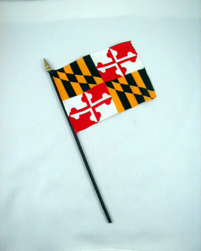 4 inches by 5 1//2 inches MARYLAND State Mini Stick Flag New!
