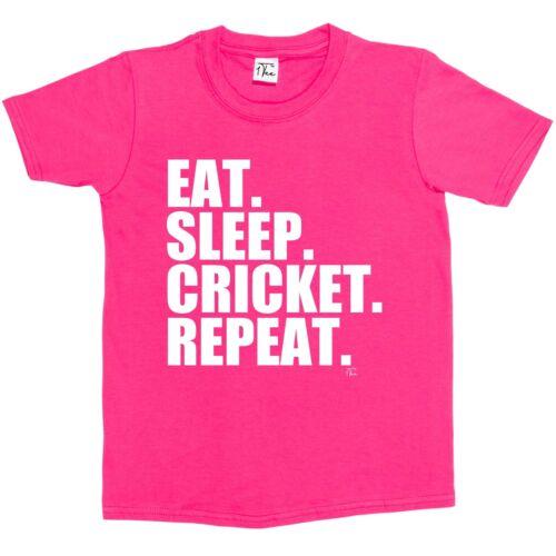 1Tee Kids Girls Eat Sleep Cricket Repeat T-Shirt