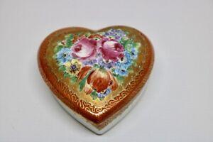 Josef Kuba Porzellan Hausmaler Herz mit Blumen und Golddekor 22 Karat JKW
