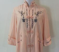 Women's Medium Vintage Lyre Bird Tianjim China Hand Embroidered Peach Dress Robe