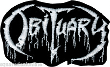6657 Obituary IRON ON PATCH Rock Band 1980's White on Black Death Metal