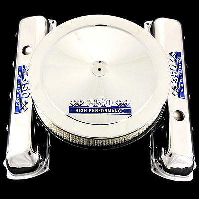 Chrome Valve Covers and Air Cleaner Combo Fits Olds 350 Engines Blue 350 Emblems