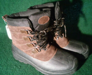 c25910534db Details about MEN'S Winter Boots -5F Thinsulate 3M Brown Leather Insulated  Cold Snow 7,9,10,12
