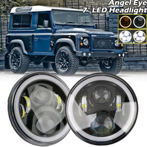 PAIR-7-034-LED-HALO-HEADLIGHTS-E-MARKED-RHD-110-90-FOR-LAND-ROVER-DEFENDER-UK