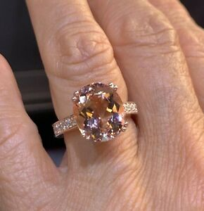 3Ct Oval Cut Diamond Solitaire With Accent Engagement Ring 14K Rose Gold Finish