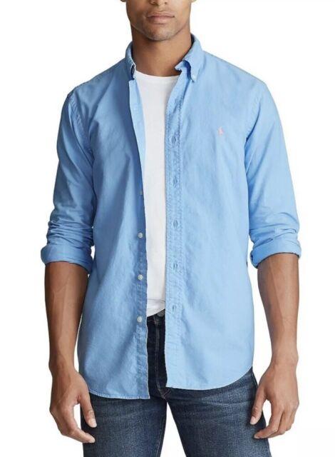 Ralph Lauren Polo Mens 2XB Big & Tall Blue Cotton Oxford Shirt L/S Pink Pony NWT
