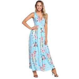 144f8cef1 Vestidos Largos de Moda Para Mujer Sin Manga Floreados Elegantes ...