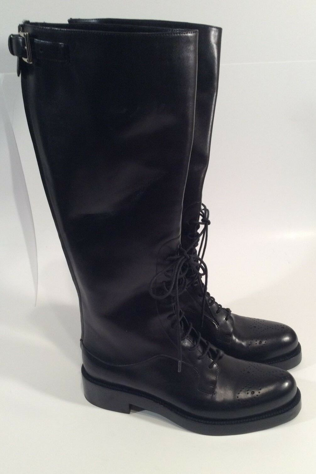 Prada Lace up knee length boots Black Size 36