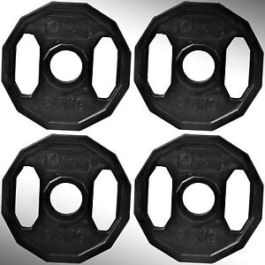 Olympic-Rubber-Coated-Hex-Weight-Disc-Plates-4-x-2-5kg-Gym-Fitness-Train-Weights