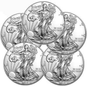 Lot-of-5-2018-1-oz-999-American-Silver-Eagle-GEM-BU-1-Coins-SKU-399398