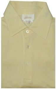 PREOWNED-BRIONI-SILK-COTTON-PALE-YELLOW-PIQUE-SHORT-SLEEVE-POLO-SHIRT-EU-50-IV-M