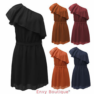 New-Ladies-Sleeveless-Off-Shoulder-Peplum-Frill-Top-Womens-Summer-Gypsy-Dress
