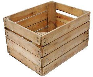 European Vintage En Bois Pomme Fruit Crate Rustique Vieux Boisseau Box Christmas Hamper-afficher Le Titre D'origine Couleur Rapide