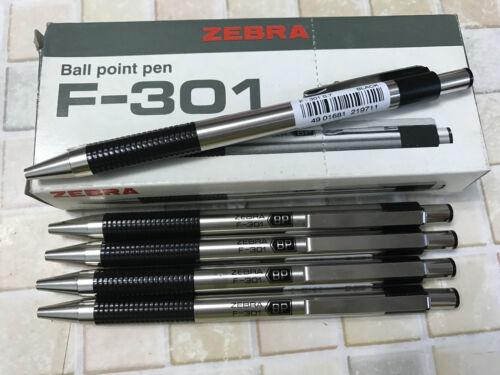 x 1 pen /& 2 refills Zebra F301 Stainless Steel Ball Pen BLACK BARREL Blue Ink